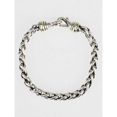 David Yurman Sterling Silver and 14k Gold Medium Wheat Chain Bracelet