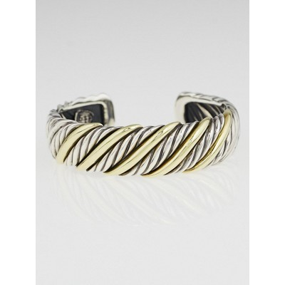 David Yurman Sterling Silver and 18k Cable Cuff Bracelet