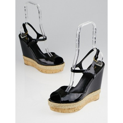 Gucci Black Patent Leather Hollie Wedge Sandals Size 10/40.5