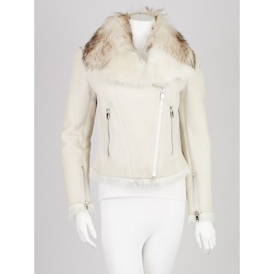 Prada Latte Shearling and Fox Fur Motorcycle Jacket Size 6/40