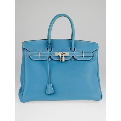 Hermes 35cm Blue Jean Togo Leather Palladium Plated Birkin Bag