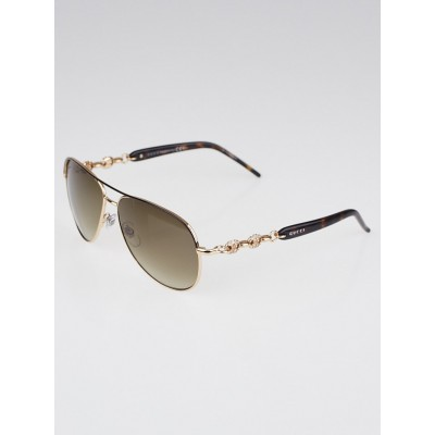 Gucci Rose Goldtone Frame Metal and Crystal Link Aviator Sunglasses - GG 4239
