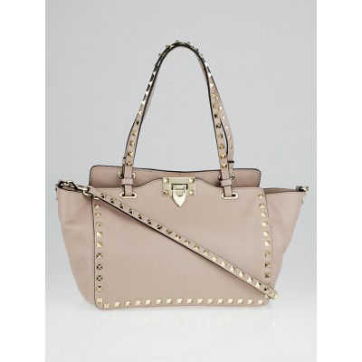Valentino Taupe Pebbled Leather Rockstud Small Trapeze Bag