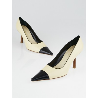 Chanel Beige Leather Cap Toe Pumps Size 8.5/39