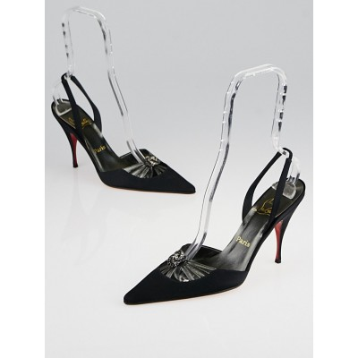 Christian Louboutin Black Crepe/Satin Tiffany Sling Back Pumps Size 7.5/38