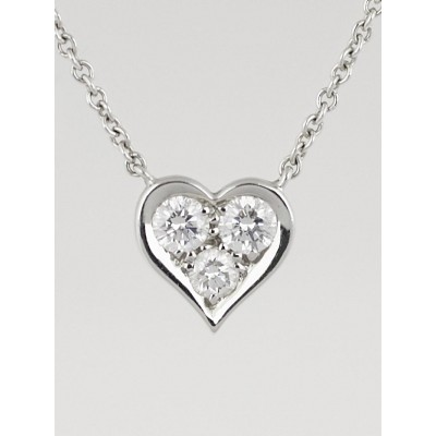 Tiffany & Co. Platinum and Diamond Heart Pendant Necklace