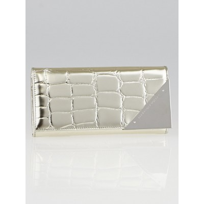 Alexander McQueen Silver Crocodile Print Leather Triangle Continental Wallet
