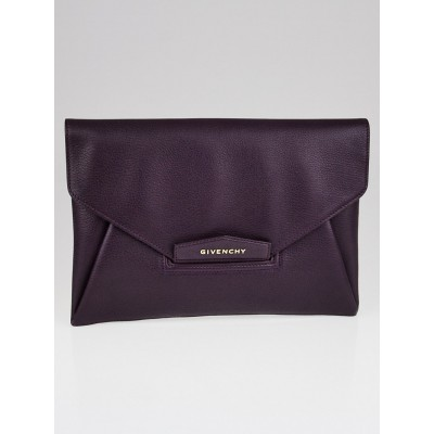 Givenchy Purple Sugar Goatskin Leather Medium Envelope Clutch Bag