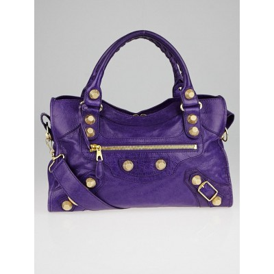 Balenciaga Ultraviolet Lambskin Leather Giant 21 Motorcycle City Bag