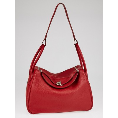 Hermes 34cm Rouge Garance Clemence Leather Palladium Plated Lindy Bag
