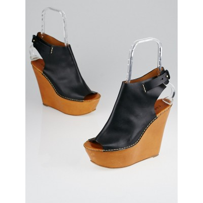 Chloe Black Leather Platform Open-Toe Cuff Wedges Size 9.5/40