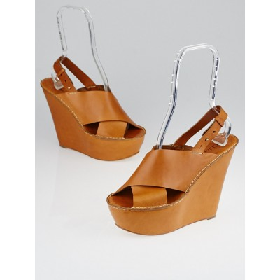 Chloe Brown Leather Platform Wedge Sandals Size 10/40.5
