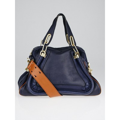 Chloe Night Blue Leather Medium Paraty Military Bag