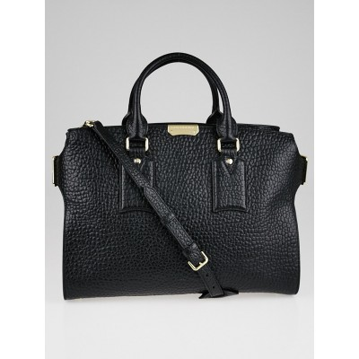 Burberry Black Signature Grain Leather Large Clifton Bag
