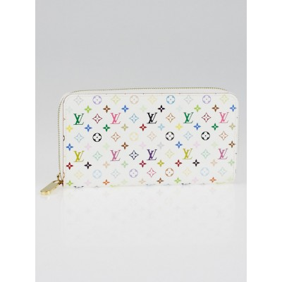 Louis Vuitton White Monogram Multicolore Orange Zippy Wallet