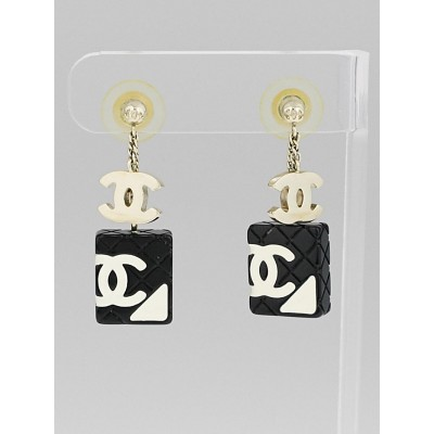 Chanel Black and White Cambon CC Dangle Earrings