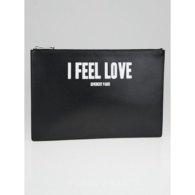 Givenchy Black/White Leather 'I Feel Love' Large Clutch Bag