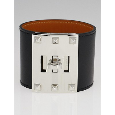 Hermes Black Chamonix Leather Kelly Dog Extreme Bracelet Size L