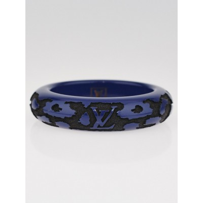 Louis Vuitton Blue Lacquer Wood Leomonogram Bangle Bracelet