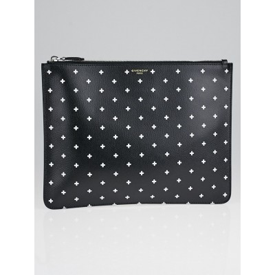 Givenchy Black/White Pebbled Leather Cross Print Clutch Bag