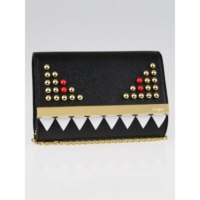Fendi Black Vitello Elite Leather Monster Clutch Bag 8M0322