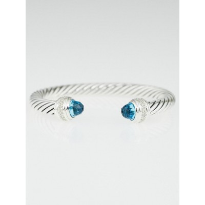 David Yurman 7mm Sterling Silver and Blue Topaz with Diamonds Cable Classics Bracelet