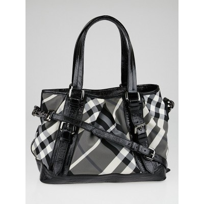 Burberry Black Beat Check Nylon Lowry Tote Bag