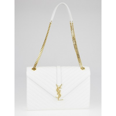 Yves Saint Laurent White Quilted Grained Leather Large Monogram Chain Cassandre Bag