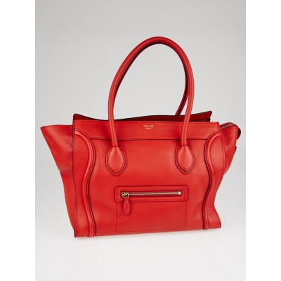 Celine Red Drummed Leather Shoulder Luggage Tote Bag