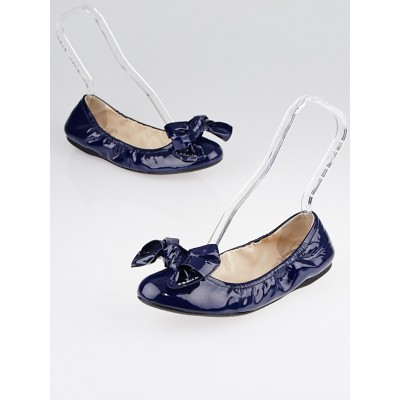 Prada Royal Blue Patent Leather Elastic Bow Ballet Flats Size 7/37.5