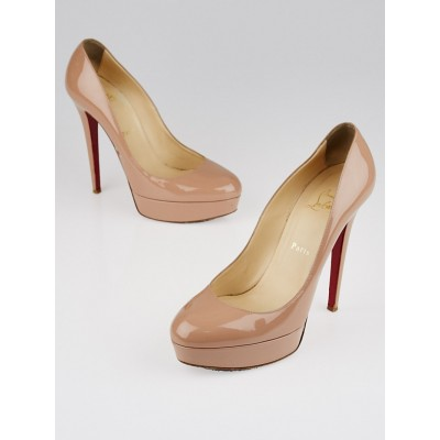 Christian Louboutin Nude Patent Leather Bianca 140 Pumps Size 9.5/40
