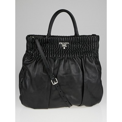 Prada Black Nappa Gaufre Leather Shoulder Bag