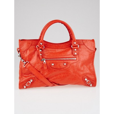 Balenciaga Coquelicot Lambskin Leather Giant 12 Silver City Bag