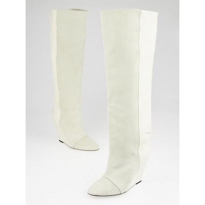 Isabel Marant Ivory Leather and Suede Prescott Wedge Boots Size 8.5/39
