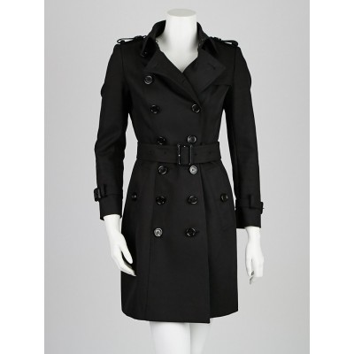 Burberry Prorsum Black Cotton Mid-Length Trench Coat Size 4/38
