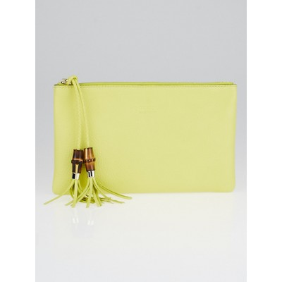 Gucci Yellow Pebbled Leather Bamboo Clutch Bag