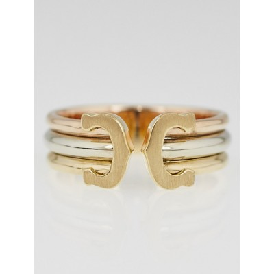 Cartier 18k Tri-Gold Double C Ring Size 51/5.75