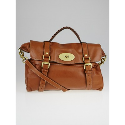 Mulberry Oak Brown Soft Buffalo Leather Oversized Alexa Satchel Bag