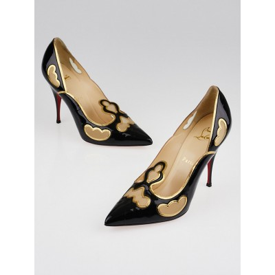 Christian Louboutin Black Patent Leather Indies 100 Pumps Size 8.5/39