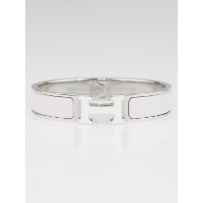 Hermes White Enamel Palladium Plated Lacquered Clic H PM Narrow Bracelet