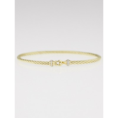 David Yurman 3mm 18k Yellow Gold and Diamonds Cable Buckle Bracelet