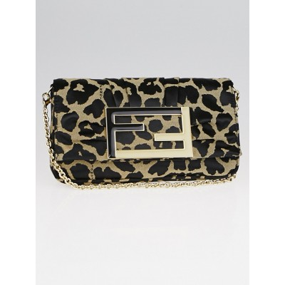 Fendi Taupe/Black Leopard Print Canvas Mia Pochette Bag