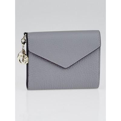 Christian Dior Grey Leather Diorissimo Medium Envelope Wallet