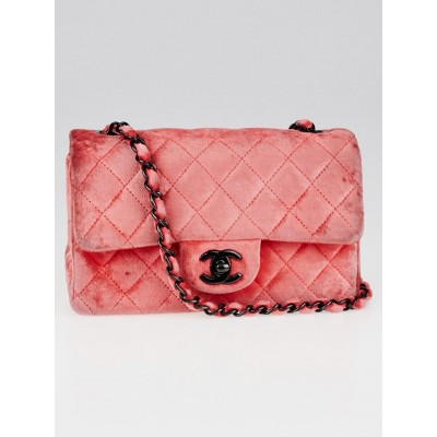 Chanel Coral Quilted Velvet New Mini Flap Bag