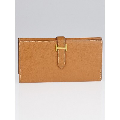Hermes Gold Epsom Leather Gold Plated Hardware Bearn Tri-Fold Wallet