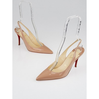 Christian Louboutin Nude Patent Leather Apostrophy 90 Slingback Pumps Size 8.5/39