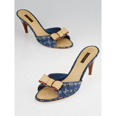 Louis Vuitton Blue Denim Monogram Denim Bow Slide Sandals Size 10.5/41