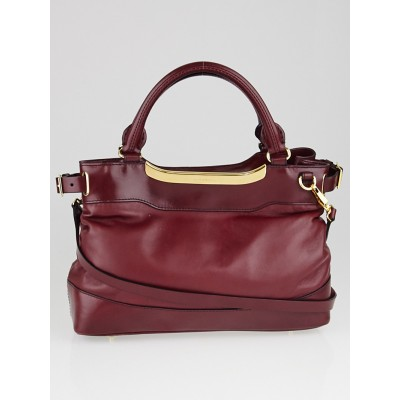 Burberry Red Leather Small Hepburn Satchel Bag