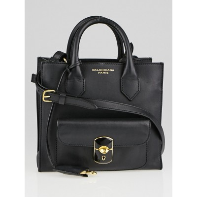 Balenciaga Black Calfskin Leather Padlock Mini All Afternoon Tote Bag