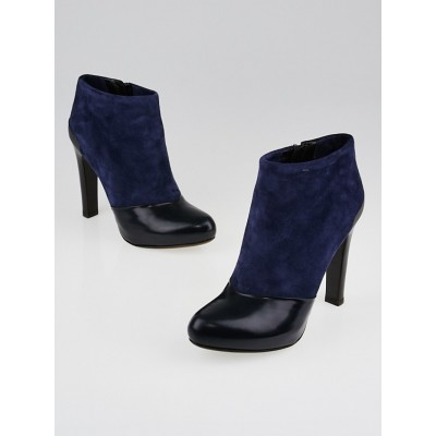 Fendi Navy Blue Suede and Black Leather Ankle Boots Size 7/37.5